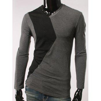 V-Neck Color Block Spliced Button Embellished T-Shirt