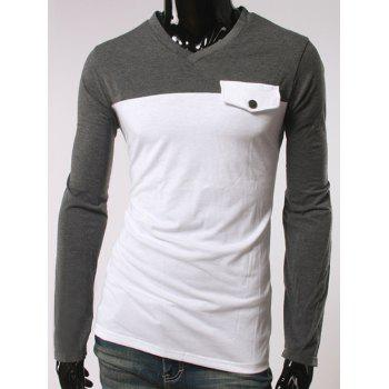 V-Neck Color Block Splicing Button Embellished T-Shirt