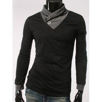 Shawl Collar Long Sleeve Button Embellished T-Shirt