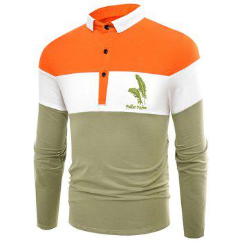 Polo Collar Long Sleeve Leaves Applique Color Block Splicing T-Shirt
