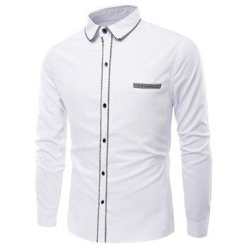 Turn-Down Collar Long Sleeve Stripe Edging Shirt