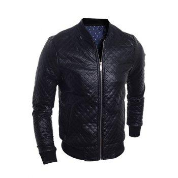 Stand Collar Zip-Up Argyle PU-Leather Bomber Jacket