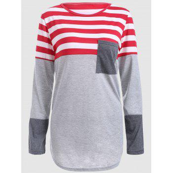 Striped Color Block Plus Size T-Shirt - GRAY GRAY