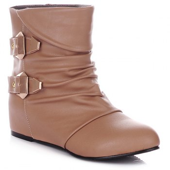 Double Buckle Ruched PU Leather Short Boots