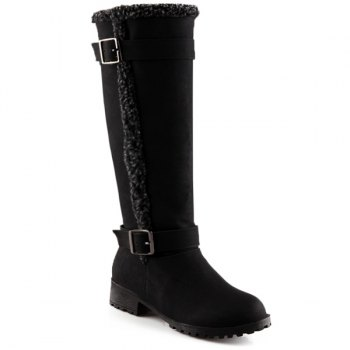 Faux Shearling Buckles Low Heel Mid-Calf Boots