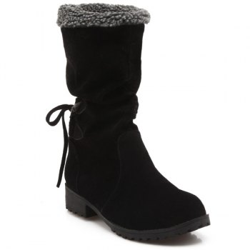 Low Heel Faux Shearling Suede Boots