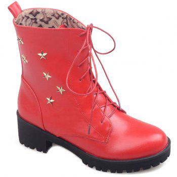 Lace-Up Chunky Heel Star Embellished Combat Boots