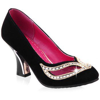 Chunky Heel Hollow Out Rhinestone Pumps
