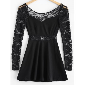 3/4 Sleeve Lace-Insert Backless Dress