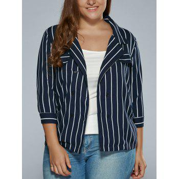 3/4 Sleeves Striped Print Blazer
