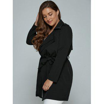 Overlay Tied Plus Size Trench Coat - BLACK 2XL