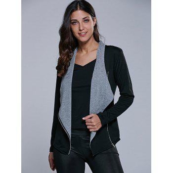 Two Tone Asymmetrical Zip Jacket