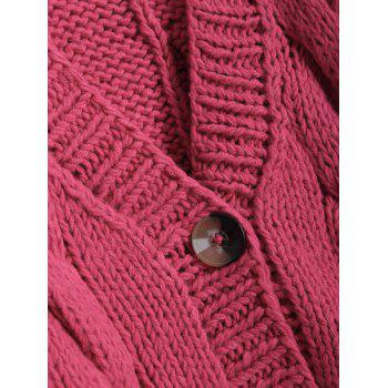 Front Pocket Design Button Up Hand-Knitted Short Cardigan - RED ONE SIZE