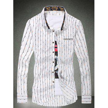 Long Sleeve Vertical Wave Line Printed Shirt