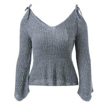 V Neck Cold Shoulder Pullover Sweater - DEEP GRAY DEEP GRAY