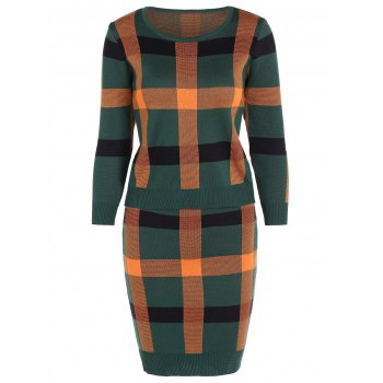 Knitted Plaid Two Piece Dress - GREEN GREEN