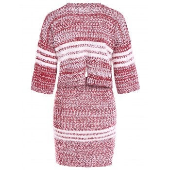 Striped Cropped Sweater and Bodycon Mini Skirt - RED ONE SIZE
