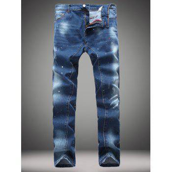 Straight Leg Splatter Printed Jeans - DENIM BLUE 32