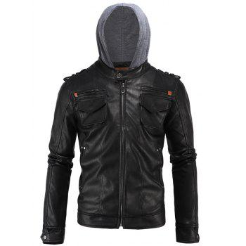 Multi-Pocket PU Hooded Moto Jacket