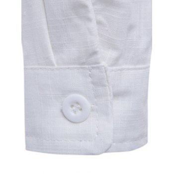 Button Pocket Long Sleeve Slim-Fit Shirt - WHITE WHITE