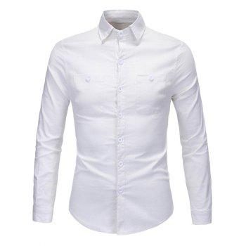 Button Pocket Long Sleeve Slim-Fit Shirt