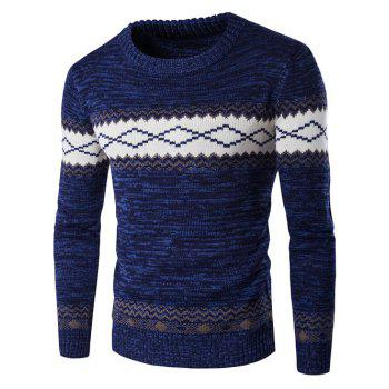 Geometric Crew Neck Space Dyed Sweater - CADETBLUE CADETBLUE