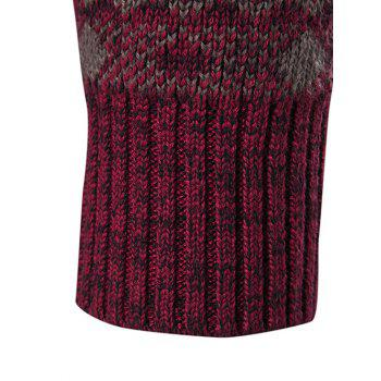 Geometric Crew Neck Space Dyed Sweater - WINE RED WINE RED