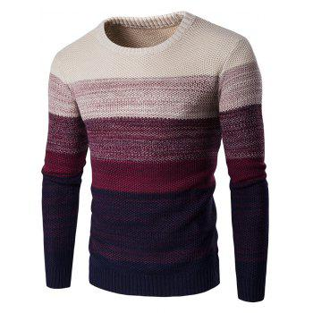 Gradient Color Crew Neck Sweater - WINE RED M