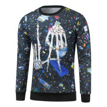Skeleton Print Crew Neck Galaxy Sweatshirt