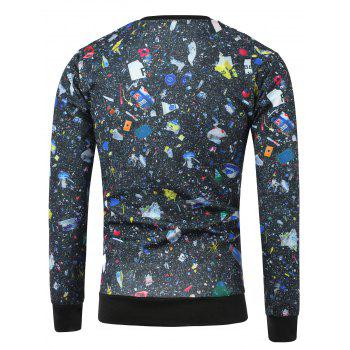 Skeleton Print Crew Neck Galaxy Sweatshirt - BLACK BLACK