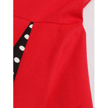 Bowknot Panel Flare Rockabilly Swing Dress - RED L