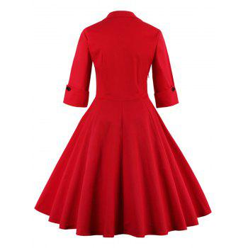 Bowknot Panel Flare Rockabilly Swing Dress - RED M
