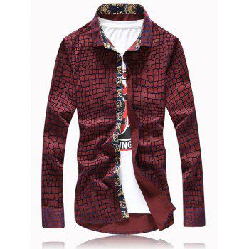 Graphic Checked Printed Long Sleeve Shirt