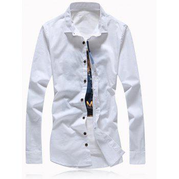 Turn-Down Collar Button Embellished Plus Size Shirt