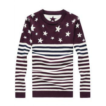 Color Block Splicing Pentagram Stripe Knitting Sweater