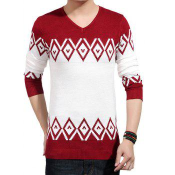 V-Neck Color Block Splicing Geometric Knitting Sweater
