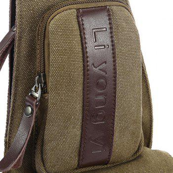 Canvas Buckle Strap Letter Embossed Crossbody Bag -  COFFEE