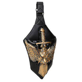 PU Leather Wing Sword 3D Embossed Crossbody Bag - TYRANT GOLD