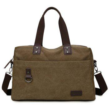 Casual Canvas PU Spliced Tote - COFFEE COFFEE