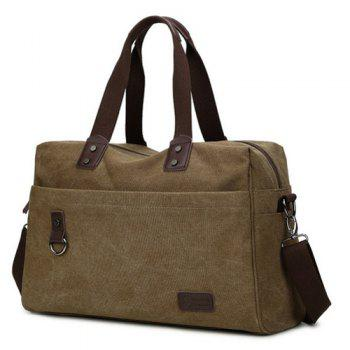 Casual Canvas PU Spliced Tote - COFFEE