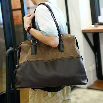 Canvas Spliced PU Leather Color Block Tote - COFFEE