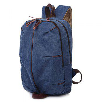 Casual Canvas Zips Backpack - BLUE BLUE