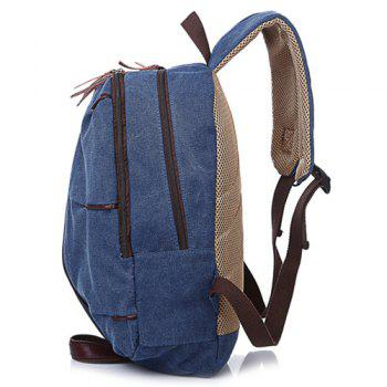 Casual Canvas Zips Backpack -  BLUE