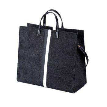 Canvas Colour Spliced Striped Pattern Tote Bag -  BLACK