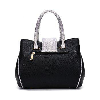 Embossed Metal Color Spliced Tote Bag -  BLACK