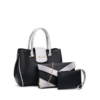 Embossed Metal Color Spliced Tote Bag - BLACK BLACK
