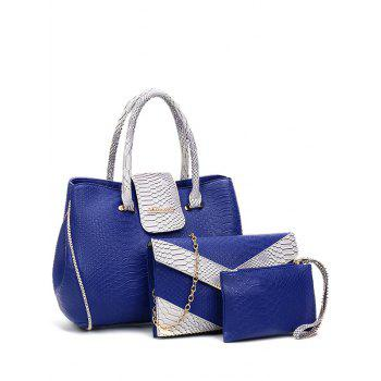 Embossed Metal Color Spliced Tote Bag - BLUE BLUE