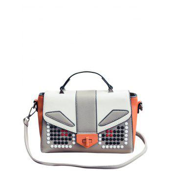 Beaded Color Block PU Leather Tote - GRAY GRAY