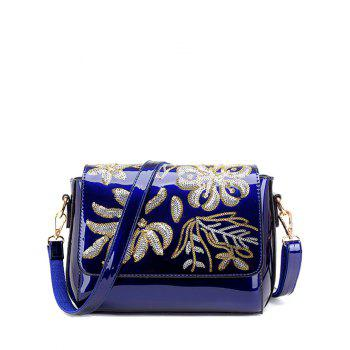 Flower Pattern Magnetic Closure Sequins Crossbody Bag - BLUE BLUE