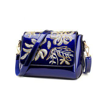 Flower Pattern Magnetic Closure Sequins Crossbody Bag -  BLUE